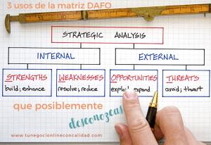 3 usos de la matriz DAFO que posiblemente desconozcas